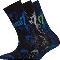 CR7 Boys Printed Three Pack Socks Green/Black/Blue