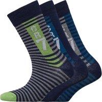 CR7 Boys Striped Three Pack Socks Blue/Plain/Green