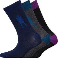 CR7 Boys Logo Three Pack Socks Grey/Blue/Black