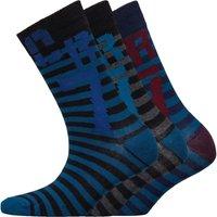 CR7 Boys Striped Three Pack Socks Purple/Black/Blue