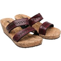 Animal Womens Saffi Cork Wedge Mules Bordeaux Red