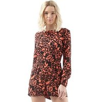 Superdry Womens Gathered Bell Sleeve Playsuit Eivissa Floral Coral