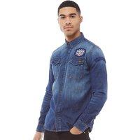 Superdry Mens Dragway Patch Denim Long Sleeve Shirt Freeway Blue