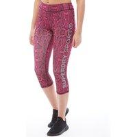 Superdry Sport Womens Core Gym Capri Pants Neon Pink Python