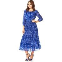 Spot Print Pleated Midi Dress