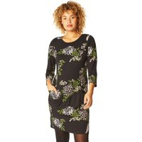 Floral Print Jersey Pocket Dress