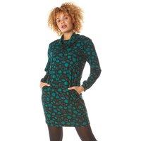 Spot Print Cowl Neck Dress