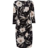 Rose Print Ruched Waist Dress