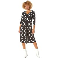 Spot Print Ruched Waist Fit & Flare Dress