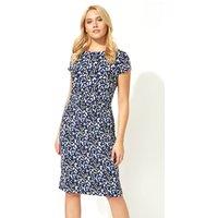 Ditsy Leaf Print Textured Dress