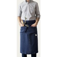 Navy Washed Linen Waist Apron