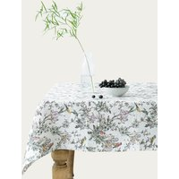 Birds Print Washed Linen Tablecloth