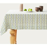 Geometrical Print Washed Linen Tablecloth