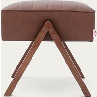 Brown Retrostar Footstool Leather