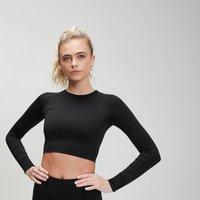 MP Women's Shape Seamless Ultra Long Sleeve Crop Top- Black - XXS