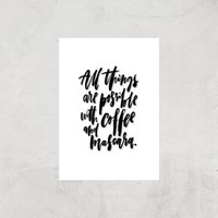 PlanetA444 All Things Are Possible with Coffee and Mascara Art Print - A3 - Print Only - Makeup Gifts