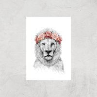 Balazs Solti Lion and Flowers Art Print - A4 - Print Only