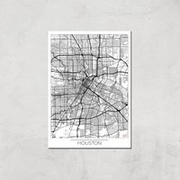 City Art Black and White Outlined Houston Map Art Print - A4 - Print Only