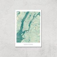 City Art Coloured New York Map Art Print - A4 - Print Only