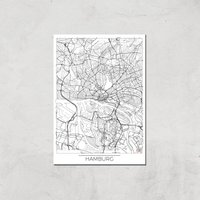 City Art Black and White Outlined Hamburg Map Art Print - A3 - Print Only