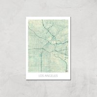 Image of City Art Coloured Los Angeles Map Art Print - A3 - Print Only