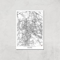 City Art Black and White Outlined Rome Map Art Print - A3 - Print Only