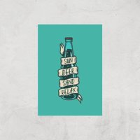 Sun Beer Sand Relax Art Print - A4 - Print Only