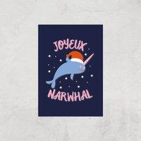 Joyeux Narwhal Art Print - A4 - Print Only