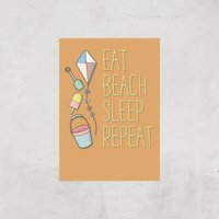 Eat Beach Sleep Repeat Art Print - A4 - Print Only - Beach Gifts