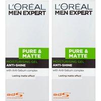 L'Oréal Men Expert Pure and Matte Anti-Shine Gel Moisturiser for Oily Skin 50ml 2 Pack Exclusive