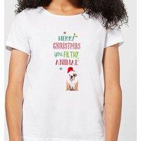 Merry Christmas bulldog Women's T-Shirt - White - 3XL - White