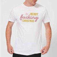Cross Stitch Merry Fucking Christmas Men's T-Shirt - White - XL - White