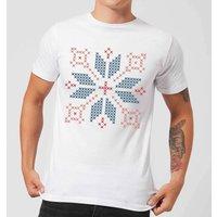 Cross Stitch Festive Shape Men's T-Shirt - White - 5XL - White