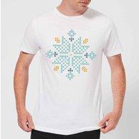 Cross Stitch Snow Flake Men's T-Shirt - White - S - White
