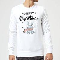 Merry Christmas Rabbit Sweatshirt - White - XXL - White