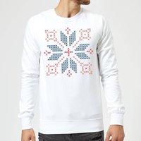 Cross Stitch Festive Shape Sweatshirt - White - XL - White