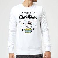 Merry Christmas Snowman Sweatshirt - White - M - White