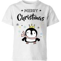 Merry Christmas Penguin Kids' T-Shirt - White - 11-12 Years - White