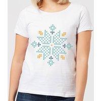Cross Stitch Snow Flake Women's T-Shirt - White - 5XL - White