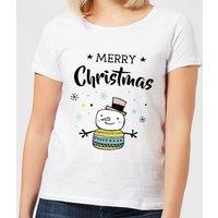 Merry Christmas Snowman Women's T-Shirt - White - S - White