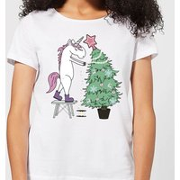 Unicorn Decorating The Christmas Tree Women's T-Shirt - White - XL - White