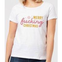 Cross Stitch Merry Fucking Christmas Women's T-Shirt - White - 4XL - White