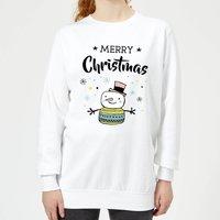 Merry Christmas Snowman Women's Sweatshirt - White - S - White