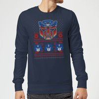 Autobots Classic Ugly Knit Christmas Sweatshirt - Navy - M - Navy