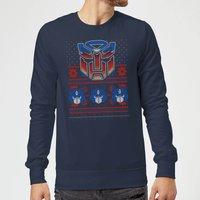 Autobots Classic Ugly Knit Christmas Sweatshirt - Navy - M - Navy