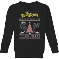 Flintstones Rockin Around The Tree Kids' Christmas Sweatshirt - Black - 11-12 Years - Black