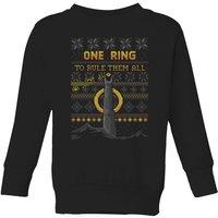 The Lord of the Rings One Ring Kids' Christmas Sweatshirt in Black - 9-10 Years - Black