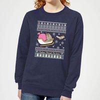 Pusheen Through The Snow Women's Christmas Sweatshirt - Navy - XL