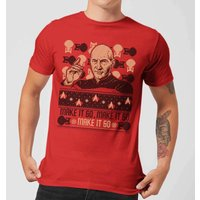 Star Trek: The Next Generation Make It So Men's Christmas T-Shirt - Red - XS - Red