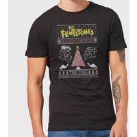 Flintstones Rockin Around The Tree Men's Christmas T-Shirt - Black - L - Black